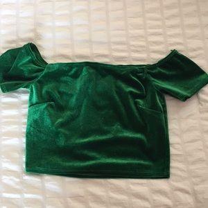 Velvet green crop top :)